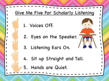 Classroom Management Poster/Give Me Five for Scholarly Behavior