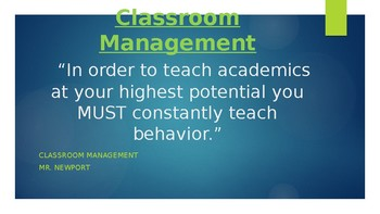Classroom Management Power Point