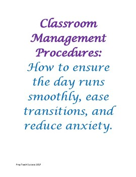 Classroom Management Procedures