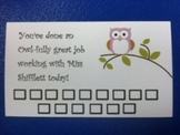 Classroom Management Punch Cards
