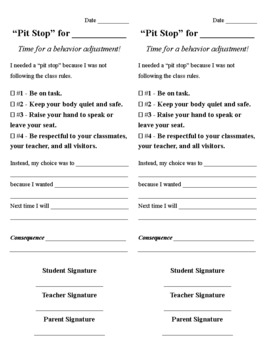 Classroom Management Racetrack and Reflection Note
