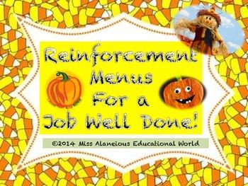 Classroom Management: Reinforcement Menus for a Job Well Done!