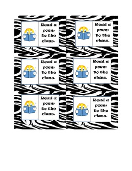 Classroom Management Reward Cards