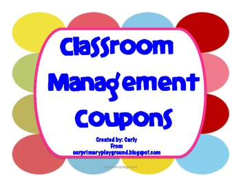 Classroom Management Reward Coupons
