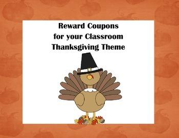 Classroom Management Reward Coupons-Thanksgiving Theme