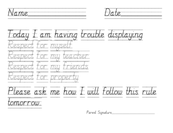 Classroom Management Rule Breaking Tracing Pages for Primary Students
