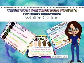 Classroom Management Rules Posters (WaterColor)