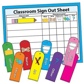 Classroom Management Sign Out Sheet For Restroom Bathroom Office