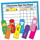 Classroom Management Sign Out Sheet For Restroom Bathroom Office Hall Passes