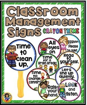 Classroom Management Signs Set {Crayon Theme}
