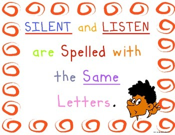 Classroom Management- Listening and Silent Poster