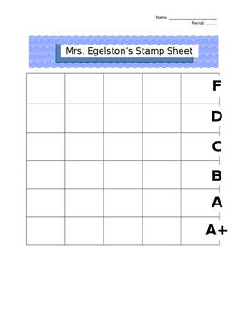 Classroom Management Stamp Sheet