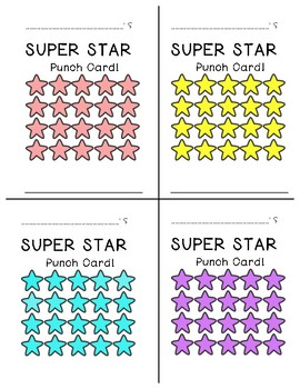 Classroom Management, Super Star punch cards!