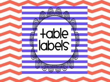 Classroom Management Desk Table Labels