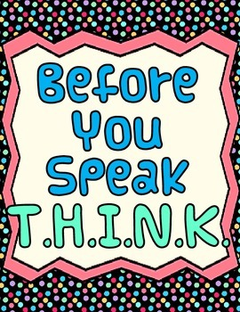 Classroom Management: Think Before You Speak Wall Posters