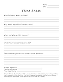 Classroom Management: Think Sheet Behavior Form