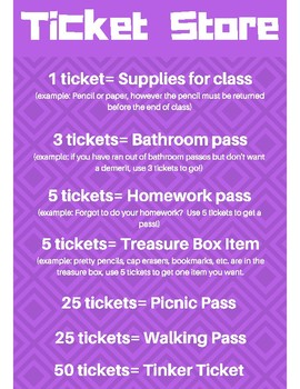 Classroom Management- Ticket Posters (PURPLE)
