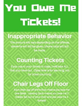 Classroom Management Ticket Store Poster- GREEN