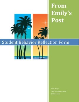 Classroom Management Tool: Behavior Reflection Sheet with directions