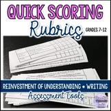 Quick Grading Rubrics - Reinvestment of Understanding & Writing