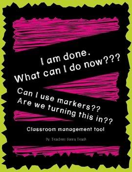 Classroom Management Tool- I'm done!! - Chalk Brights