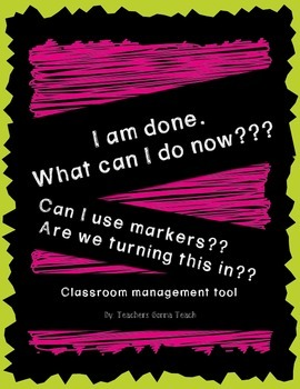 Classroom Management Tool- I'm done!! - Chalk Brights