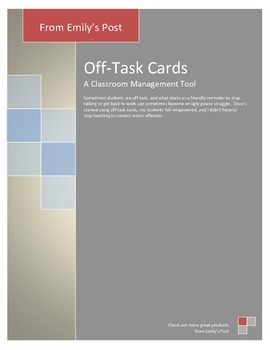 Classroom Management Tool: Off-Task Cards with description for use, 3 pages