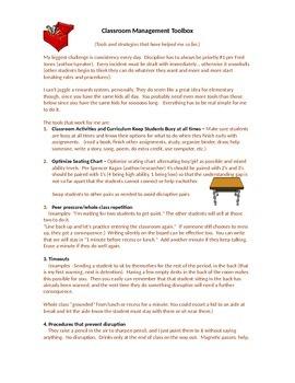 Classroom Management TOOLBOX - discipline motivation procedures consequences