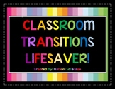 Classroom Management Visual Aide: Transitions Lifesaver!