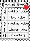 Classroom Management Volume Level Charts apple chevron stripe dot black white
