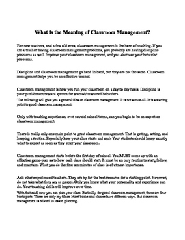 Classroom Management and Classroom Discipline for the Real-World Classroom