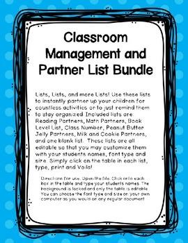 Classroom Management and Partner List Bundle