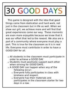 Classroom Management and Reward System - 30 Good Days