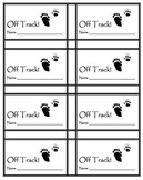 "Classroom Management behavior tickets- Hunting theme ""Off Track"""
