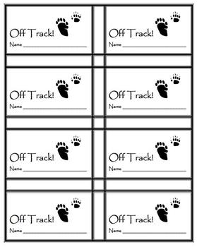 """Classroom Management behavior tickets- Hunting theme """"Off Track"""""""