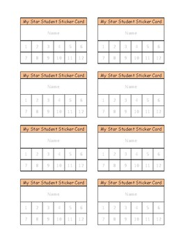 Classroom Management sticker cards/ punch cards