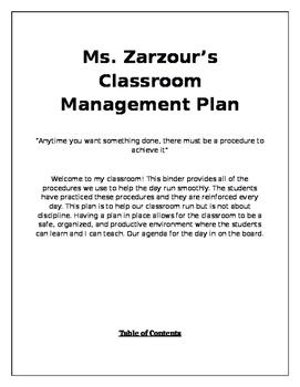 Classroom Management Plan- Editable