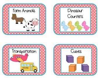 Classroom Manipulative Labels Polka Dots