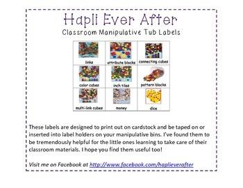 Classroom Manipulative Tub Labels