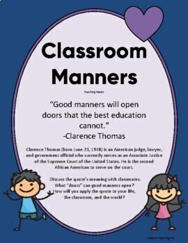 Teach/Review Classroom Manners: Bingo