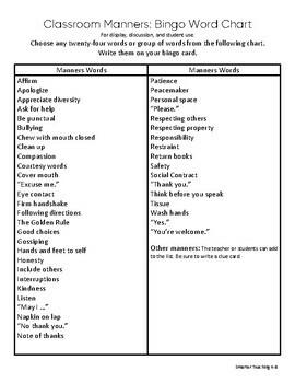 Classroom Manners: Bingo