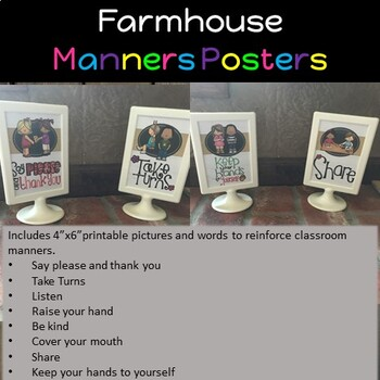 Classroom Manners Posters - Farmhouse Style
