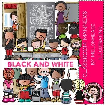 Melonheadz: Classroom Manners clip art - BLACK AND WHITE