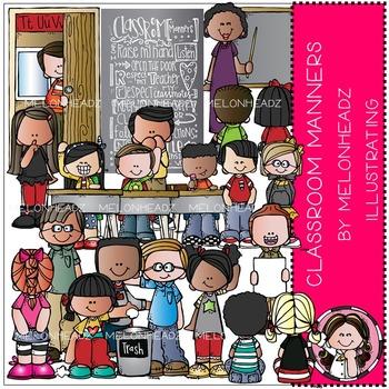 Melonheadz: Classroom Manners clip art - COMBO PACK