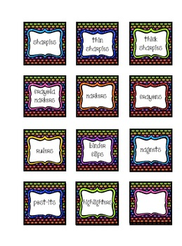 Classroom Material Labels