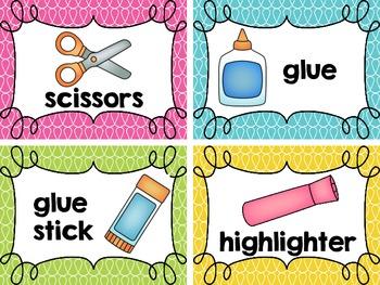 Classroom Materials Cards