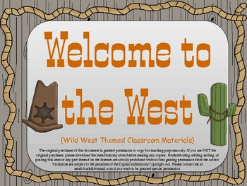 Classroom Materials {Wild West}
