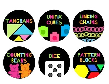 Classroom Math Manipulative Labels and Calendar Decor Only {Neon Bright}