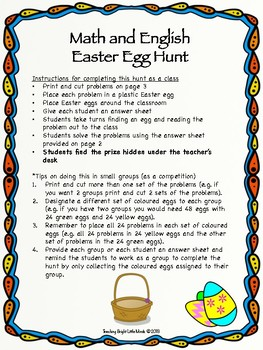 Classroom Math and English Easter Egg Hunt