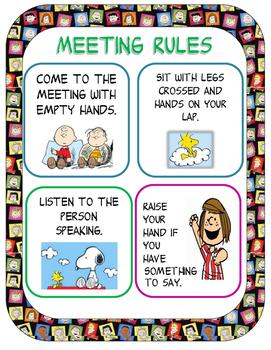 Classroom Meeting Rules: Peanuts Gang Ed.